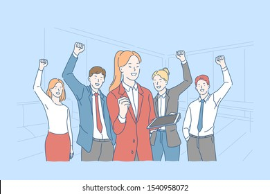 Success, motivation, teamwork concept. Happy office workers with raised hands, business people celebrating victory, professional achievement, partners collaboration. Simple flat vector