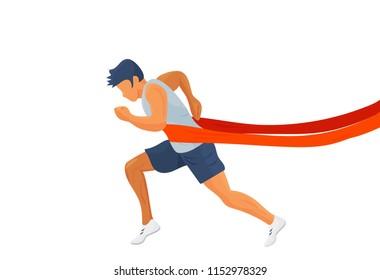 Success Motivation vector illustration: leader winner runner silhouette isolated. Winner running or finish line victory icon.