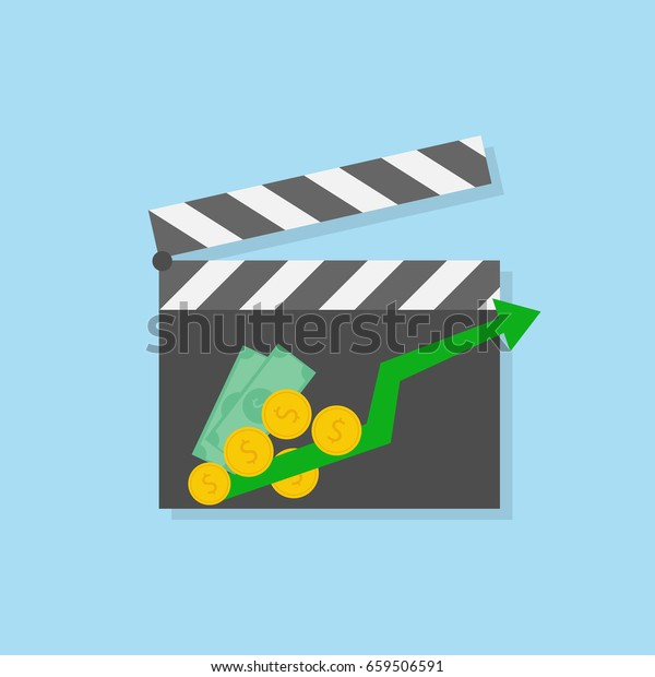 success movie concept. clapper board with growth charts and money