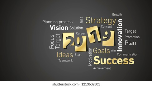 Success New Year 2019 gold white word cloud black board background