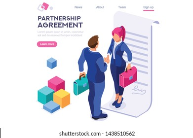 Success Partnership Successful Contract Greeting Partner Leadership Friendship Agreement Idea Concept for Web Banner Infographics Images. Flat Isometric Illustration Isolated on White Background