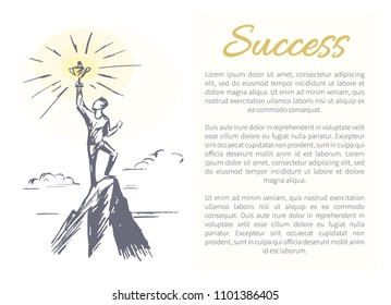 Success person standing on top of mountain holding prize in hands, successfull man text sample headline vector illustration isolated white background
