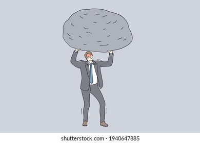Success, power, strength and stamina concept. Powerful businessman cartoon character in grey suit standing and holding huge stone above head feeling tired and exhausted vector illustration