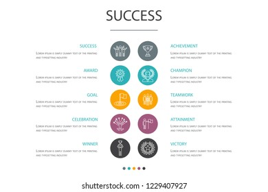 success presentation template, cover layout and infographics. achievement, champion, award, attainment cons