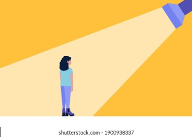 Success, promotion, choice concept. Flashlight shines on a young woman. Colorful flat vector illustration