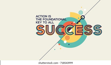 Success quote in modern typography. Success quote in geometric style.