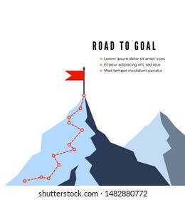 Success Route. Path to top of mountain. Business strategy path to success. Flat Vector illustration