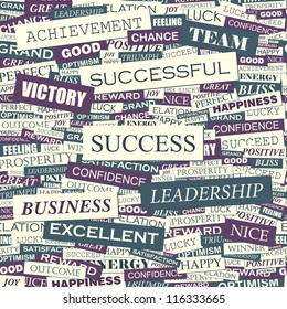 Success. Seamless vector pattern. Word collage. Vector illustration.