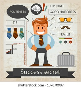 Success secret. Office infografic. Vector illustration