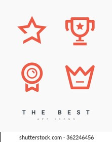Success set of isolated minimal flat linear icons. The best vector icons for websites and mobile minimalistic flat design.
