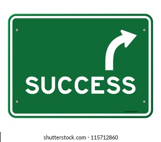 Success Sign - Green road sign with arrow pointing right