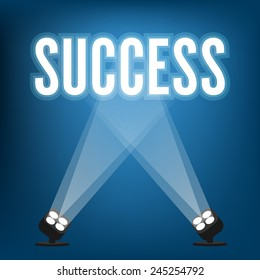 Success signs with spotlight illuminated