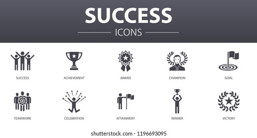 success simple concept icons set. Contains such icons as achievement, champion, award, attainment and more, can be used for web, logo, UI/UX