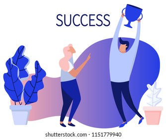 Success. Team work. Web page design template. Modern flat illustration, concept for website, mockup. Man and girl are working together like business partners