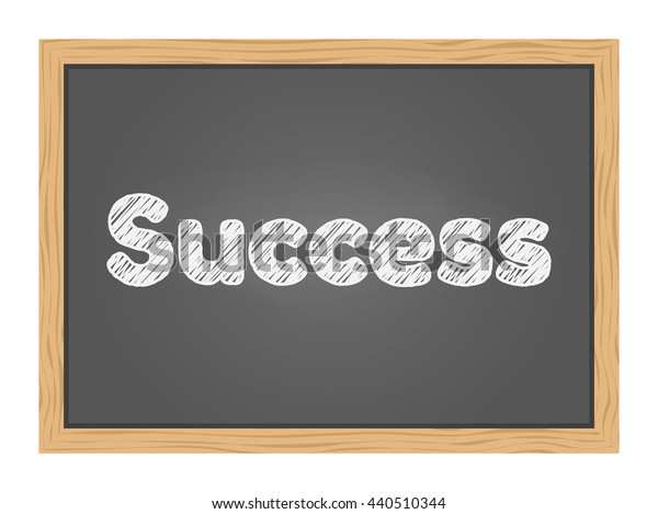 Success text on green school chalkboard background texture with frame vector. Template for your design.