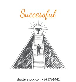 Success. Vector business concept hand drawn sketch.