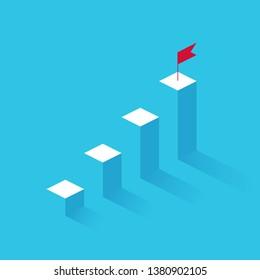 Success vector concept made by graph columns. Success, achievment, motivation business symbol.