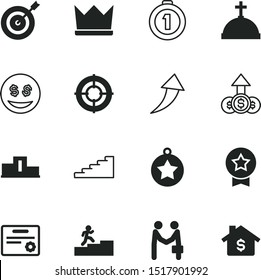 success vector icon set such as: cash, level, avatar, customer, bright, guarantee, monarch, increase, personal, authority, house, staff, sight, challenge, certification, stock, royalty, throne