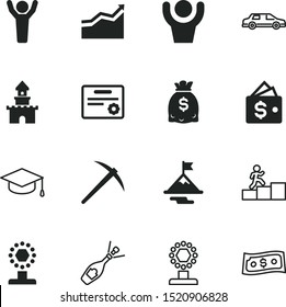success vector icon set such as: arrow, climbing, limo, mortar, wine, target, tools, master, trend, way, resort, user, pickaxe, graph, chart, bag, beach, alcohol, peak, ice, color, graduate