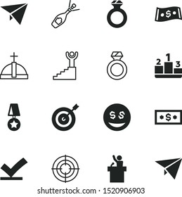 success vector icon set such as: list, tick, star, market, dartboard, stairway, correct, explosion, second, aim, right, element, commerce, police, politician, pay, premium, year, bill, pedestal