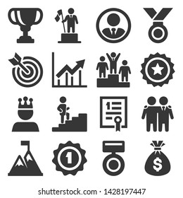 Success and Victory Icons Set on White Background. Vector