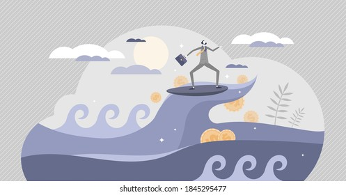 Success wave surf in business peak with ongoing money profit tiny person concept. Company progress with continuous financial earnings as perfect strategy and prosperity growth vector illustration.