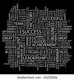 SUCCESS. Word collage on black background. Illustration with different association terms.