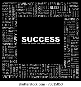 SUCCESS. Word collage on black background. Vector illustration. Illustration with different association terms.