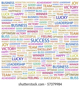 SUCCESS. Word collage on white background. Illustration with different association terms.