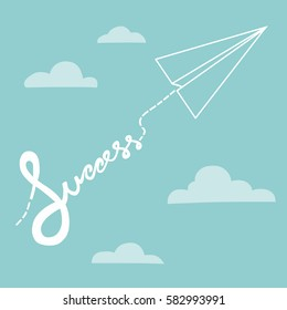 Success word from paper airplane cartoon vector illustration, business concept
