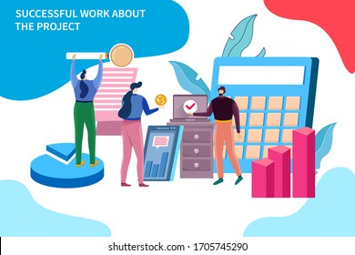 Success work about the project. Teamwork, new business product, team marketing. Trendy flat colorful illustration.