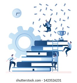 Success in work, growth in career ladder, achieving goals.Stack of books. Businessmen climbs the career stairs.Improve new skills. Happy businessman on top with winner cup and money, trendy vector