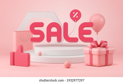 Successful 3d sale vector illustration. Pink three dimensional like with gift box tied with red ribbon near white podium. Taking off balloon and price tag with paper bag discounts rolling balls.