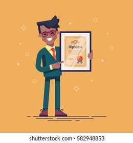 Successful african american businessman holding diploma in his hands. Graduate of MBA. Modern vector illustration.