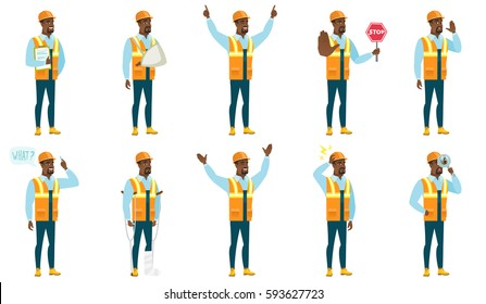 Successful african-american builder standing with raised arms up. Full length of happy builder celebrating with raised arms up. Set of vector flat design illustrations isolated on white background.