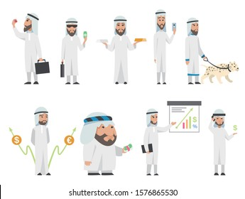 Successful Arab man in white clothes. Vector cartoon smiling Islamic businessman dressed in traditional clothes. Vector man with charts, animal, bag, smartphone, gold-silver, diamond, dollar, euro
