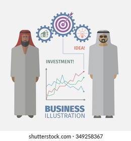 Successful Arabic business people. Businessman Idea. Flat design.