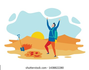 Successful Archaeologist Flat Vector Character. Archeological Achievement, Ancient Culture and Civilization Exploration. Young Historian Found Artifacts and Antique Amphora Cartoon Illustration