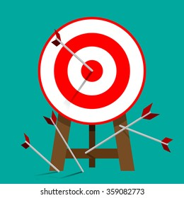 Successful attempt, Miss target, goals vector success business strategy concept icon