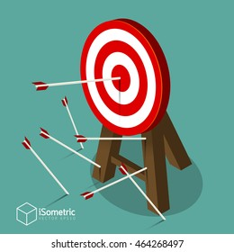 Successful attempt, Miss target, goals vector success business strategy concept icon in isometric style