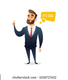 Successful beard businessman character gives thumb up. Successful man, Smile, finger agreement, say some. Business concept illustration