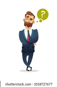 Successful beard businessman character have a question. Business man standing with question mark and thinking. Manager think about something. Business concept illustration.