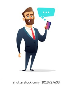 Successful beard businessman character Holding smart Phone. Call, Using Smart Cellphone. Business concept illustration