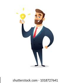 Successful beard businessman character holding light bulb. Big idea concept. Symbol of having business inspiration