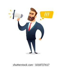 Successful beard businessman character shouting through loud speaker. Leadership speech. Business concept illustration.