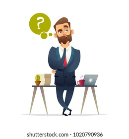 Successful beard businessman character thinking. Thinking man surrounded by question mark. Business concept illustration