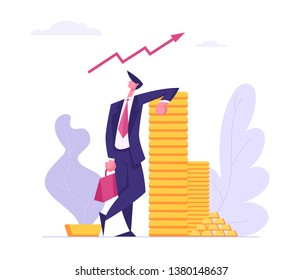 Successful Business Character with Money Cash. Financial Profit Salary Wealth Concept. Rich Businessman Making Savings Increasing Capital. Vector flat cartoon illustration