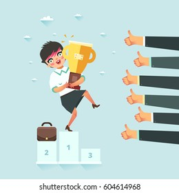 Successful business concept. Businesswoman standing on the winners podium with award. Lots of Like hands. Vector illustration in flat style.
