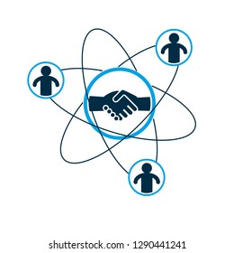 Successful Business creative logo, handshake agreement sign, vector conceptual symbol isolated on white background. Special and unique sign.