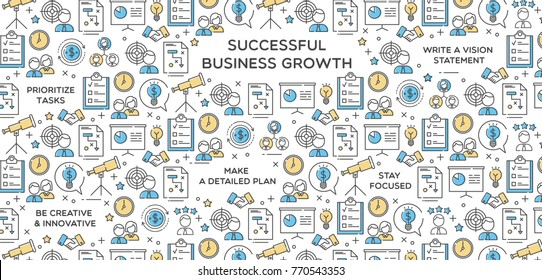 Successful Business Growth Vector Illustration